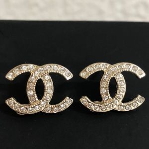 Chanel NWT CC Logo Gold & Crystal Logo Earrings